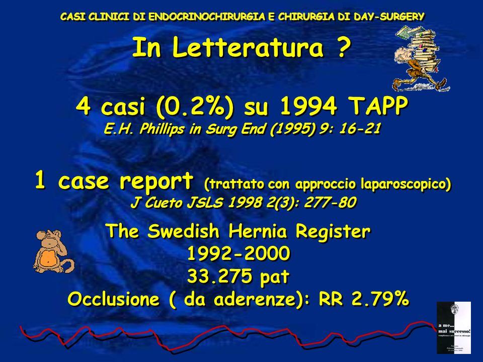 CASI CLINICI DI ENDOCRINOCHIRURGIA E CHIRURGIA DI DAY-SURGERY In Letteratura ? 4 casi (0.2%) su 1994 TAPP E.H. Phillips in Surg End (1995) 9: 16-21 1