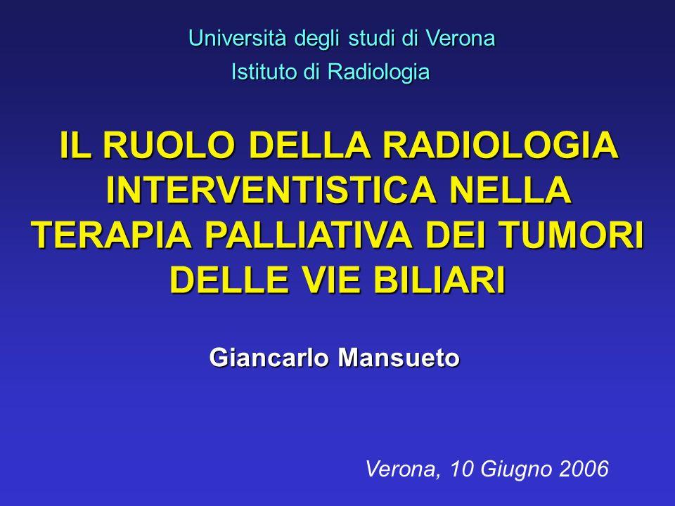 Università degli studi di Verona Istituto di Radiologia Istituto di Radiologia Giancarlo Mansueto Verona, 10 Giugno 2006 IL RUOLO DELLA RADIOLOGIA INT