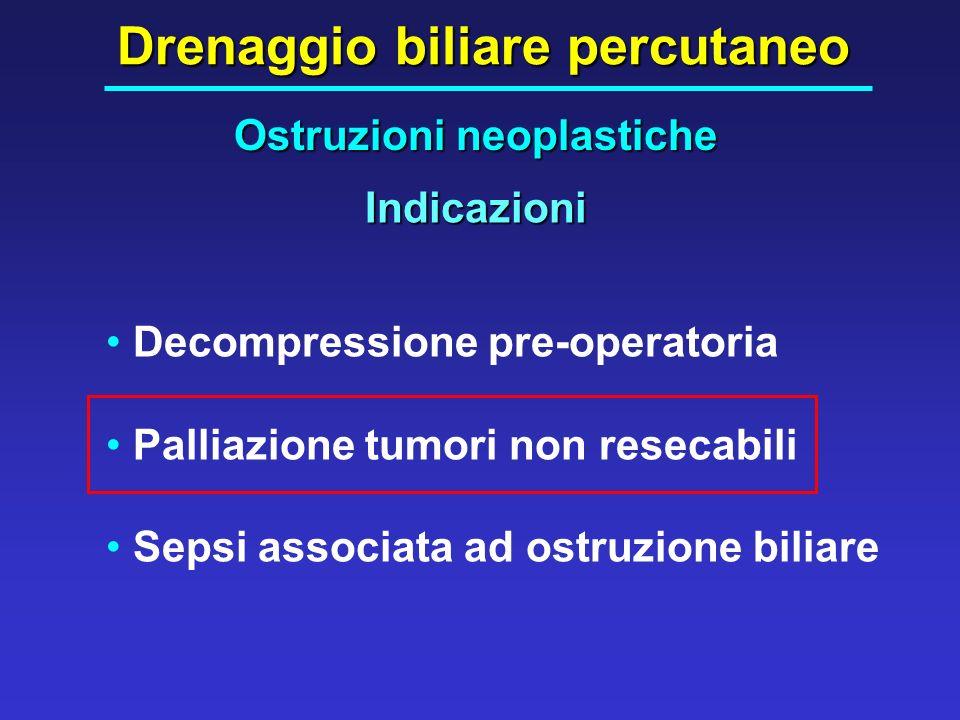 Indicazioni Drenaggio biliare percutaneo Decompressione pre-operatoria Palliazione tumori non resecabili Sepsi associata ad ostruzione biliare Ostruzi