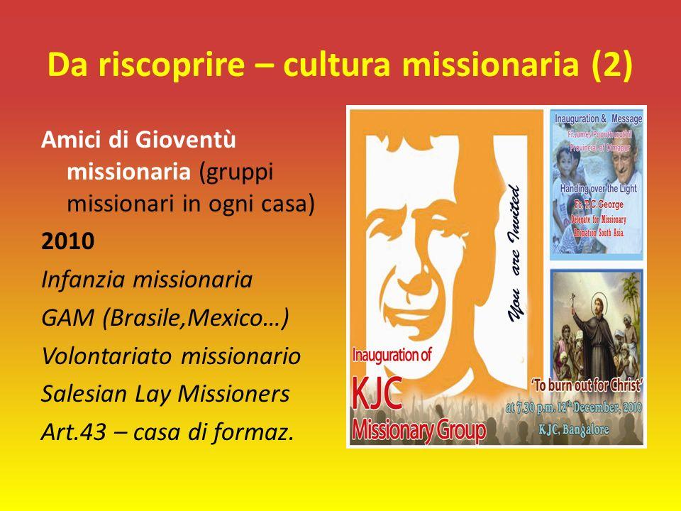 Da riscoprire – cultura missionaria (2) Amici di Gioventù missionaria (gruppi missionari in ogni casa) 2010 Infanzia missionaria GAM (Brasile,Mexico…) Volontariato missionario Salesian Lay Missioners Art.43 – casa di formaz.