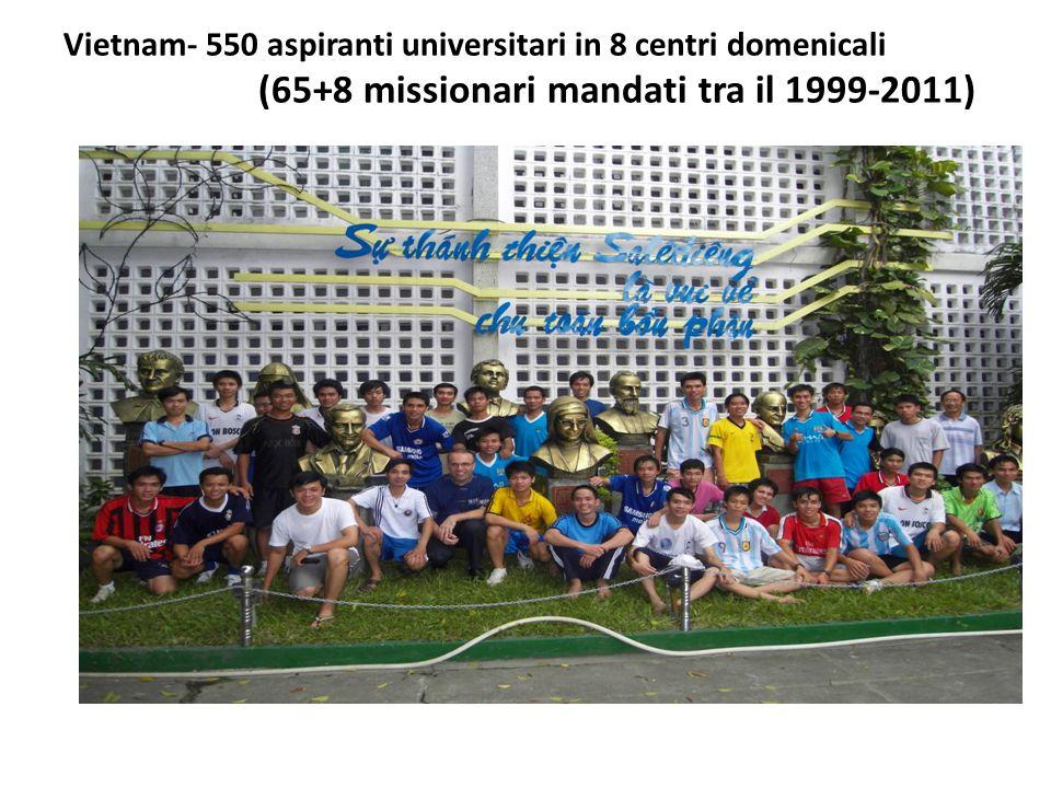 Vietnam- 550 aspiranti universitari in 8 centri domenicali (65+8 missionari mandati tra il 1999-2011)