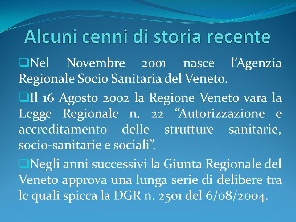 Nel Novembre 2001 nasce lAgenzia Regionale Socio Sanitaria del Veneto. Il 16 Agosto 2002 la Regione Veneto vara la Legge Regionale n. 22 Autorizzazion