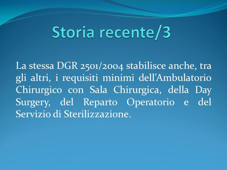 La stessa DGR 2501/2004 stabilisce anche, tra gli altri, i requisiti minimi dellAmbulatorio Chirurgico con Sala Chirurgica, della Day Surgery, del Rep