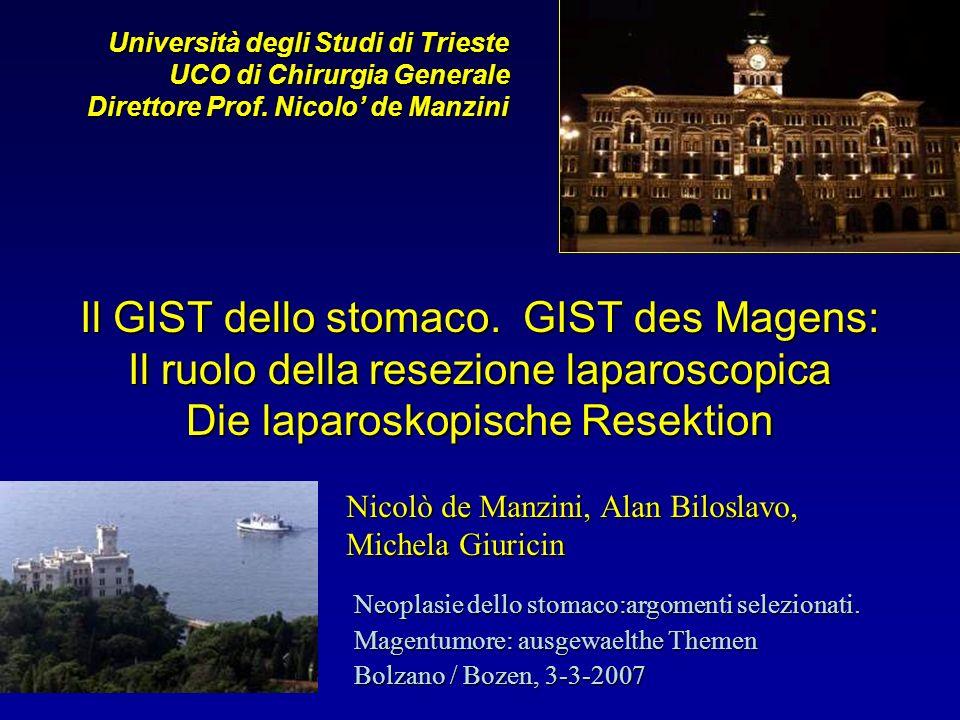 Il GIST dello stomaco. GIST des Magens: Il ruolo della resezione laparoscopica Die laparoskopische Resektion Università degli Studi di Trieste UCO di