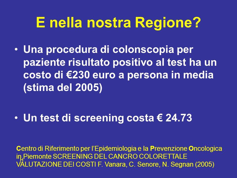 E nella nostra Regione? Una procedura di colonscopia per paziente risultato positivo al test ha un costo di 230 euro a persona in media (stima del 200