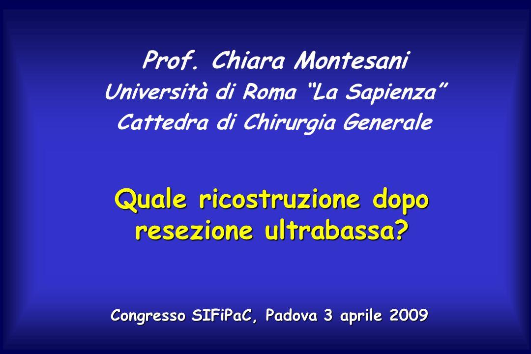 Quale ricostruzione dopo resezione ultrabassa? Prof. Chiara Montesani Università di Roma La Sapienza Cattedra di Chirurgia Generale Congresso SIFiPaC,