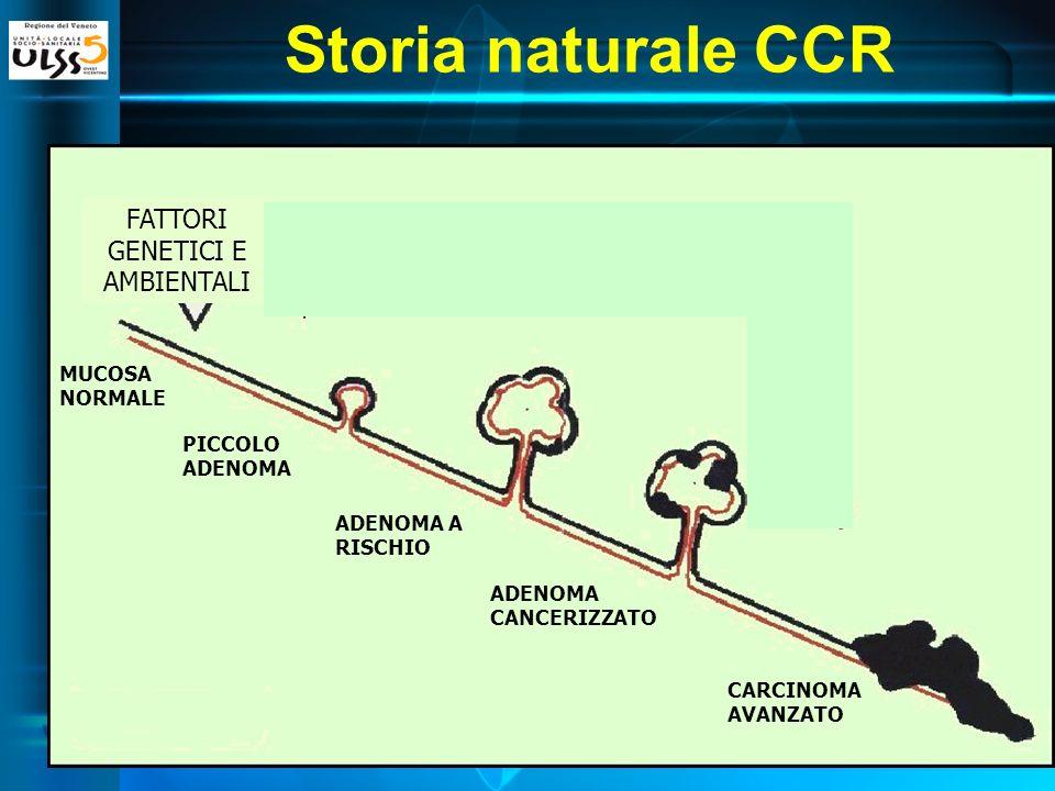 FATTORI GENETICI E AMBIENTALI MUCOSA NORMALE PICCOLO ADENOMA ADENOMA A RISCHIO ADENOMA CANCERIZZATO CARCINOMA AVANZATO Storia naturale CCR