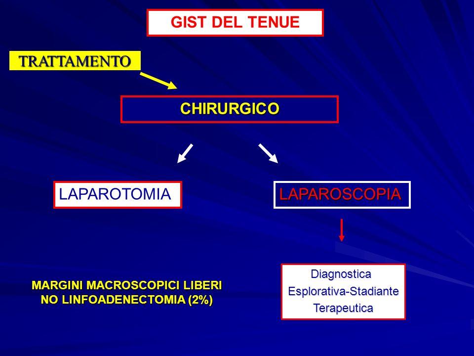 GIST DEL TENUE TRATTAMENTO CHIRURGICO LAPAROTOMIALAPAROSCOPIA DiagnosticaEsplorativa-StadianteTerapeutica MARGINI MACROSCOPICI LIBERI NO LINFOADENECTO
