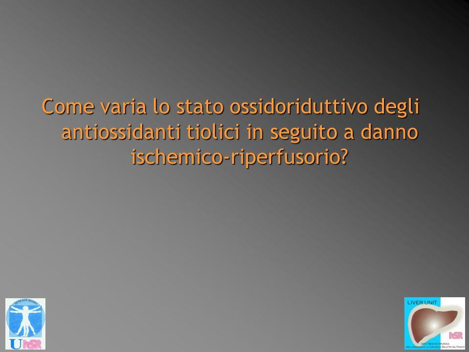 Come varia lo stato ossidoriduttivo degli antiossidanti tiolici in seguito a danno ischemico-riperfusorio?