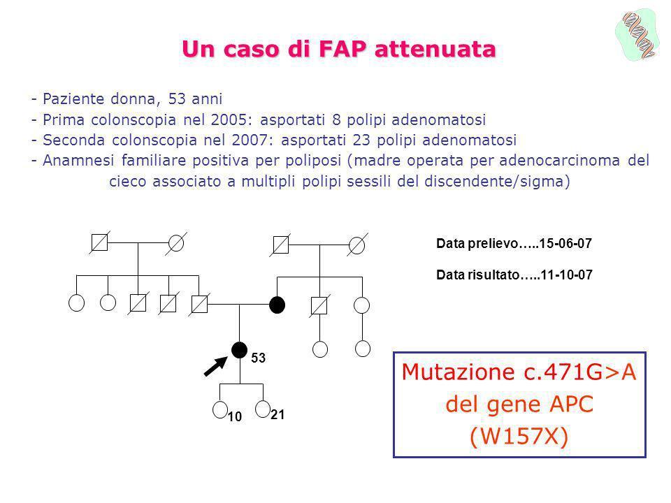 Un caso di FAP attenuata - Paziente donna, 53 anni - Prima colonscopia nel 2005: asportati 8 polipi adenomatosi - Seconda colonscopia nel 2007: asport