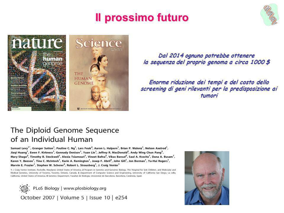 Il prossimo futuro Dal 2014 ognuno potrebbe ottenere la sequenza del proprio genoma a circa 1000 $ Enorme riduzione dei tempi e del costo dello screen