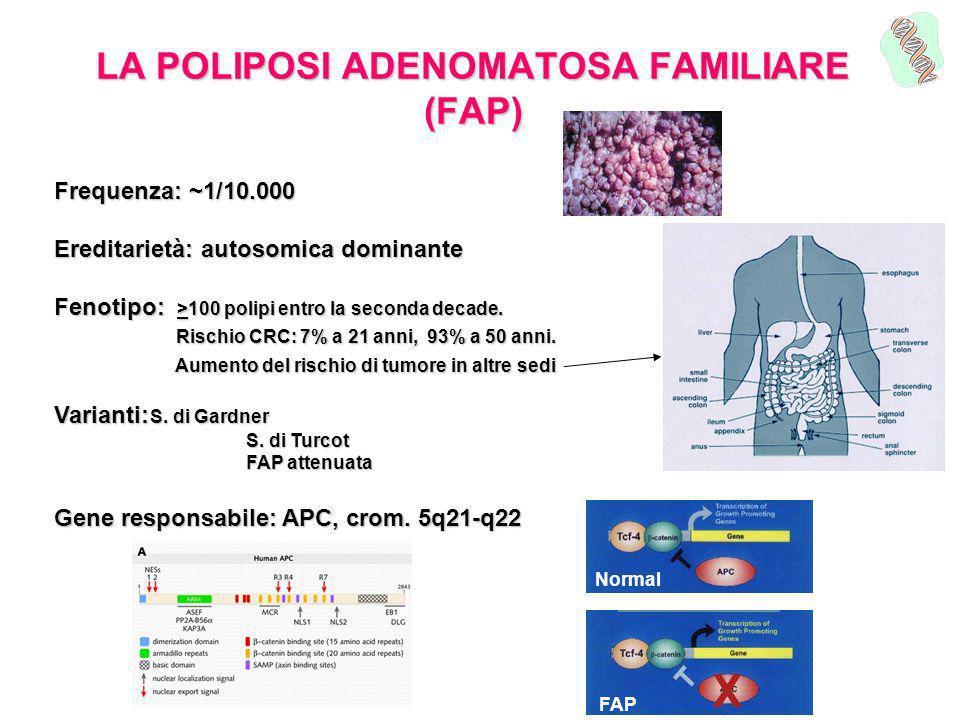 LA POLIPOSI ADENOMATOSA FAMILIARE (FAP) Frequenza: ~1/10.000 Ereditarietà: autosomica dominante Fenotipo: >100 polipi entro la seconda decade. Rischio