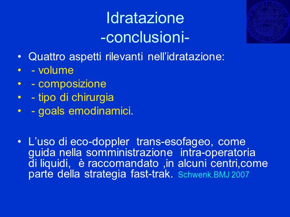 Quattro aspetti rilevanti nellidratazione: - volume - composizione - tipo di chirurgia - goals emodinamici. Luso di eco-doppler trans-esofageo, come g