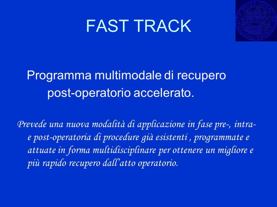 FAST TRACK Programma multimodale di recupero post-operatorio accelerato. Prevede una nuova modalità di applicazione in fase pre-, intra- e post-operat