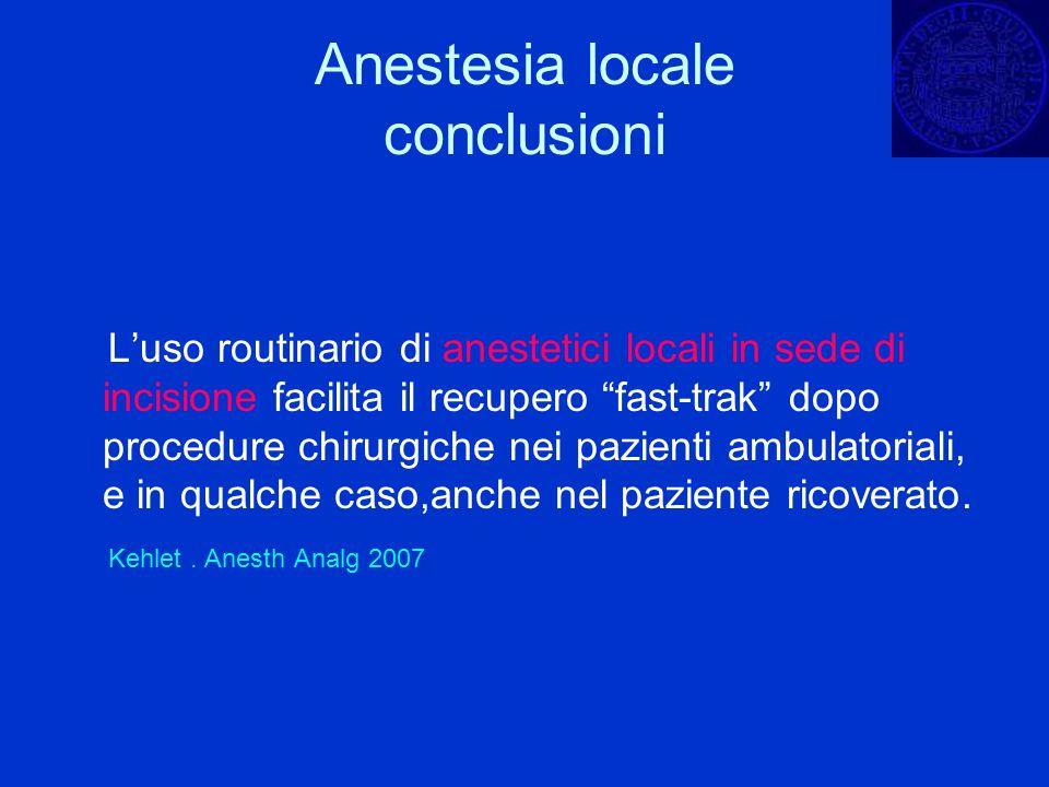Anestesia locale conclusioni Luso routinario di anestetici locali in sede di incisione facilita il recupero fast-trak dopo procedure chirurgiche nei p