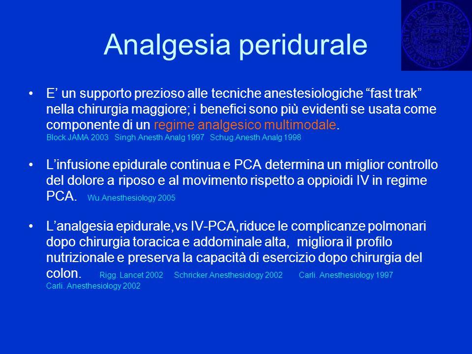 Analgesia peridurale E un supporto prezioso alle tecniche anestesiologiche fast trak nella chirurgia maggiore; i benefici sono più evidenti se usata c