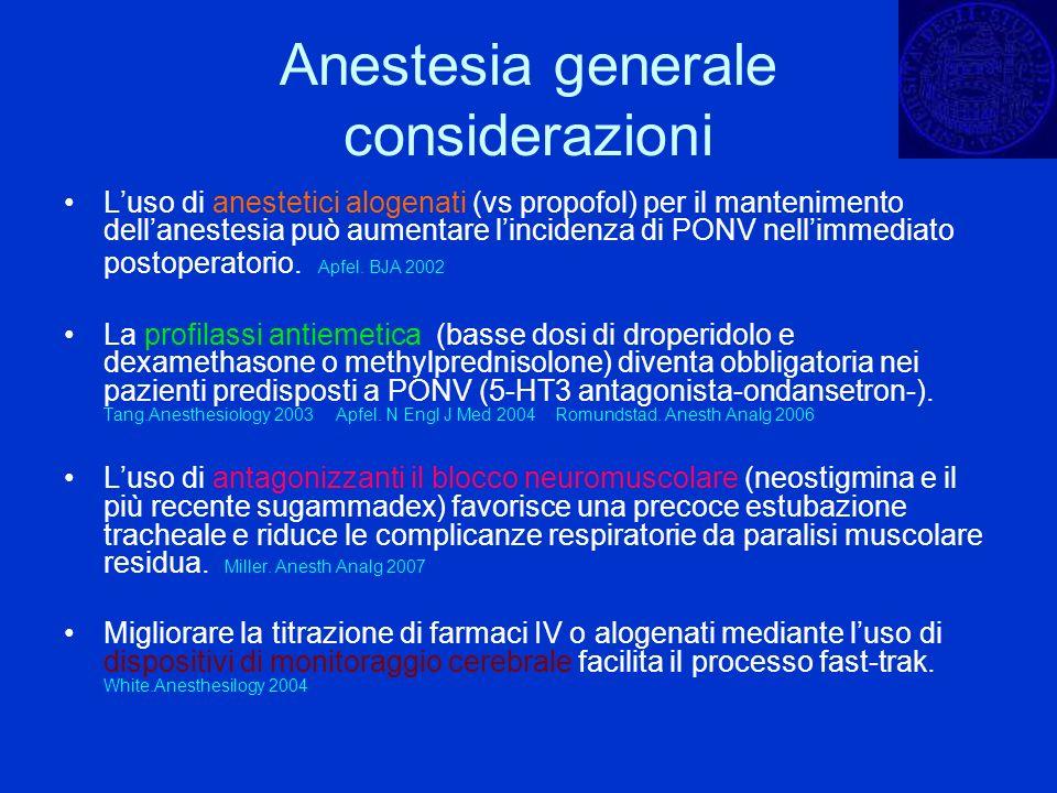 Anestesia generale considerazioni Luso di anestetici alogenati (vs propofol) per il mantenimento dellanestesia può aumentare lincidenza di PONV nellim