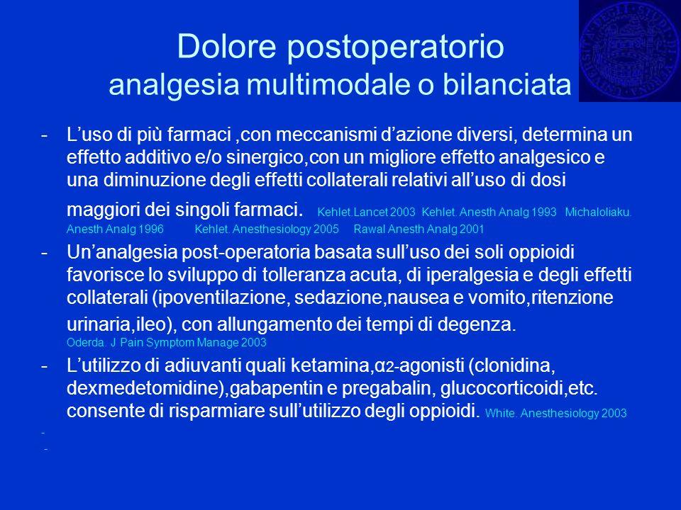 Dolore postoperatorio analgesia multimodale o bilanciata -Luso di più farmaci,con meccanismi dazione diversi, determina un effetto additivo e/o sinerg