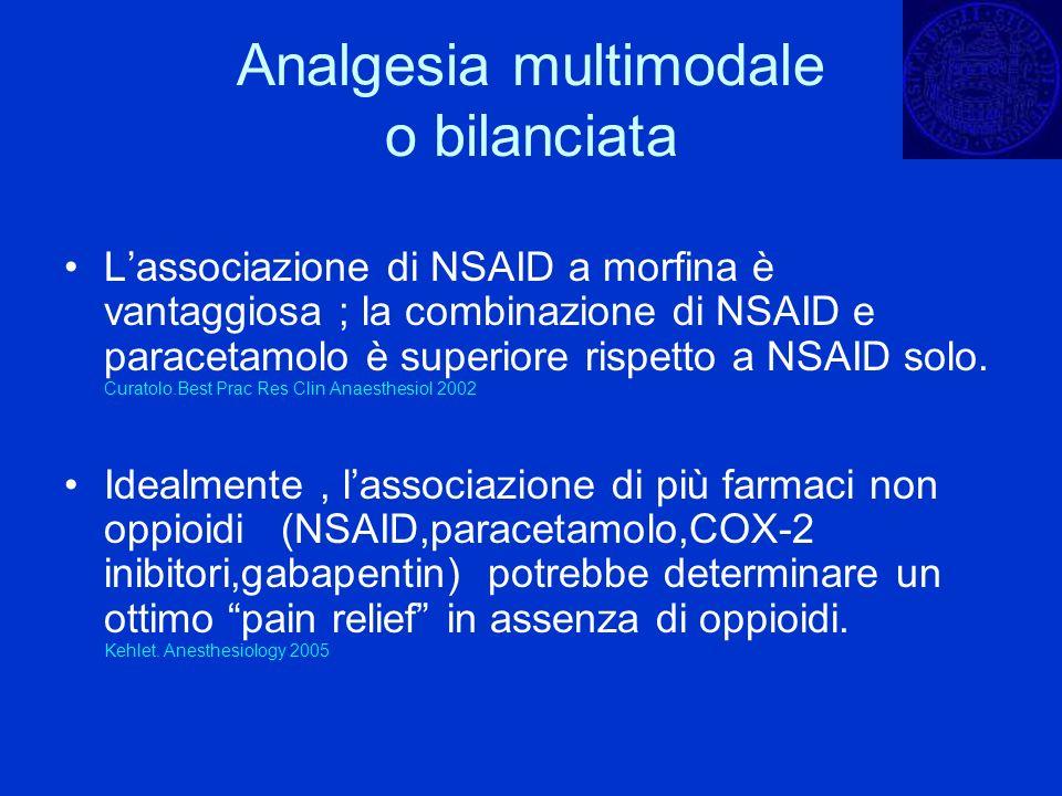 Analgesia multimodale o bilanciata Lassociazione di NSAID a morfina è vantaggiosa ; la combinazione di NSAID e paracetamolo è superiore rispetto a NSA