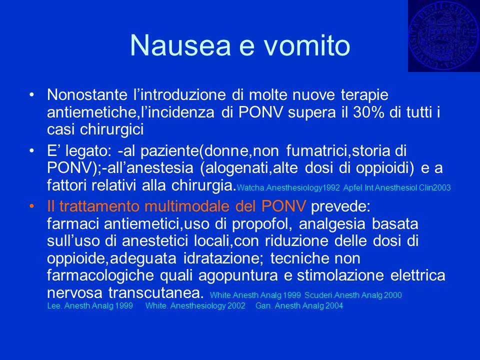 Nausea e vomito Nonostante lintroduzione di molte nuove terapie antiemetiche,lincidenza di PONV supera il 30% di tutti i casi chirurgici E legato: -al