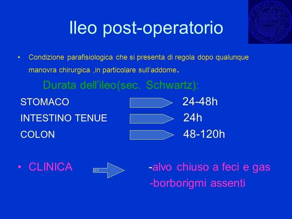Ileo post-operatorio Condizione parafisiologica che si presenta di regola dopo qualunque manovra chirurgica,in particolare sulladdome. Durata dellileo