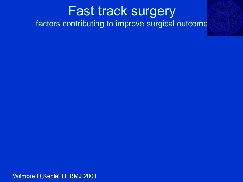 Fast track surgery factors contributing to improve surgical outcome Wilmore D,Kehlet H. BMJ 2001