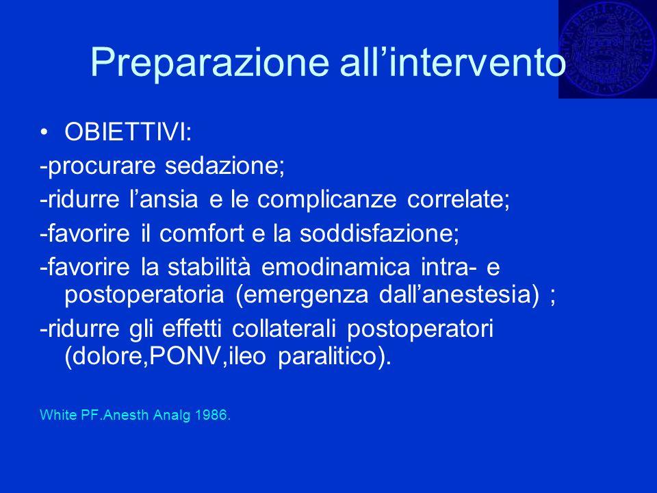 Preparazione allintervento OBIETTIVI: -procurare sedazione; -ridurre lansia e le complicanze correlate; -favorire il comfort e la soddisfazione; -favo