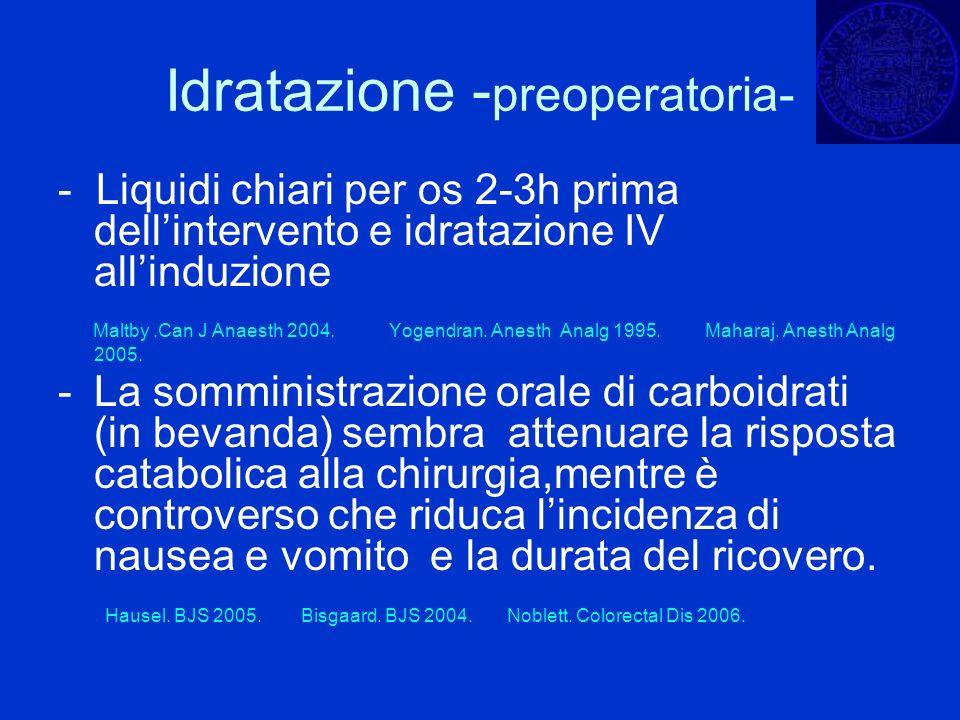 Idratazione - preoperatoria- - Liquidi chiari per os 2-3h prima dellintervento e idratazione IV allinduzione Maltby.Can J Anaesth 2004. Yogendran. Ane
