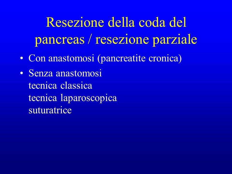 Resezione della coda del pancreas / resezione parziale Con anastomosi (pancreatite cronica) Senza anastomosi tecnica classica tecnica laparoscopica suturatrice