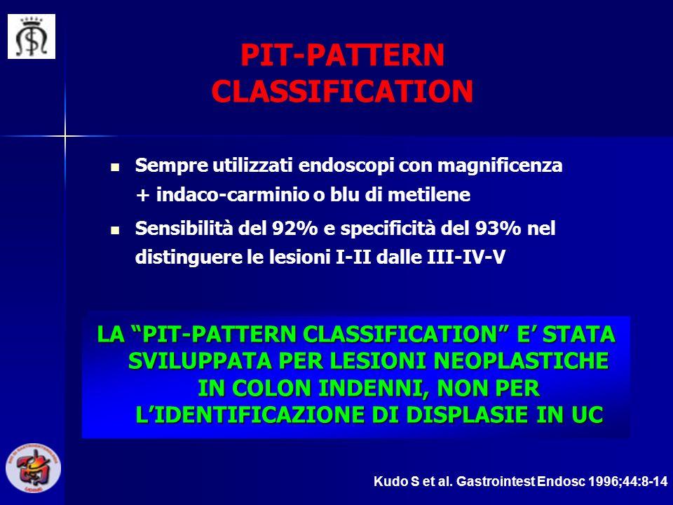 PIT-PATTERN CLASSIFICATION Sempre utilizzati endoscopi con magnificenza + indaco-carminio o blu di metilene Sensibilità del 92% e specificità del 93%