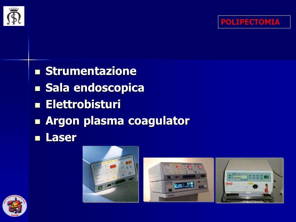 Strumentazione Strumentazione Sala endoscopica Sala endoscopica Elettrobisturi Elettrobisturi Argon plasma coagulator Argon plasma coagulator Laser La