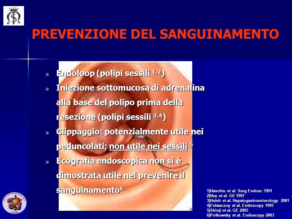 PREVENZIONE DEL SANGUINAMENTO 1)Haschiu et al. Surg Endosc 1991 2)Rey et al. GE 1997 3)Hsieh et al. Hepatogastroenterology 2001 4)Folwaczny et al. End