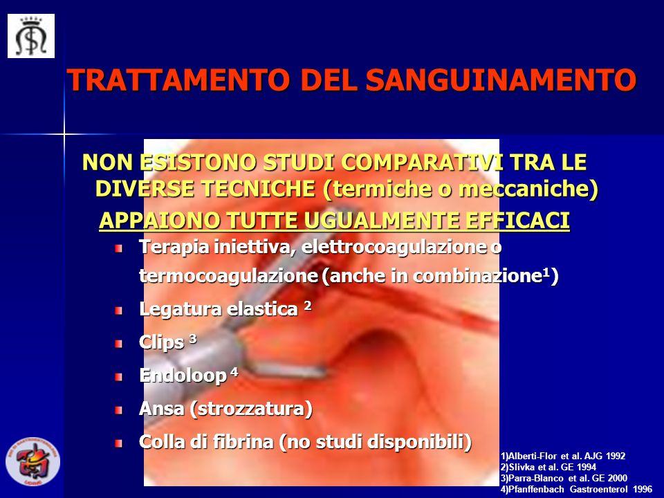 TRATTAMENTO DEL SANGUINAMENTO 1)Alberti-Flor et al. AJG 1992 2)Slivka et al. GE 1994 3)Parra-Blanco et al. GE 2000 4)Pfanffenbach Gastroenterol 1996 T