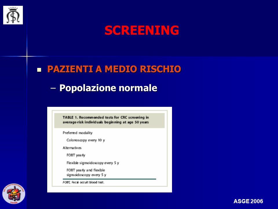 PAZIENTI A MEDIO RISCHIO PAZIENTI A MEDIO RISCHIO –Popolazione normale SCREENING ASGE 2006