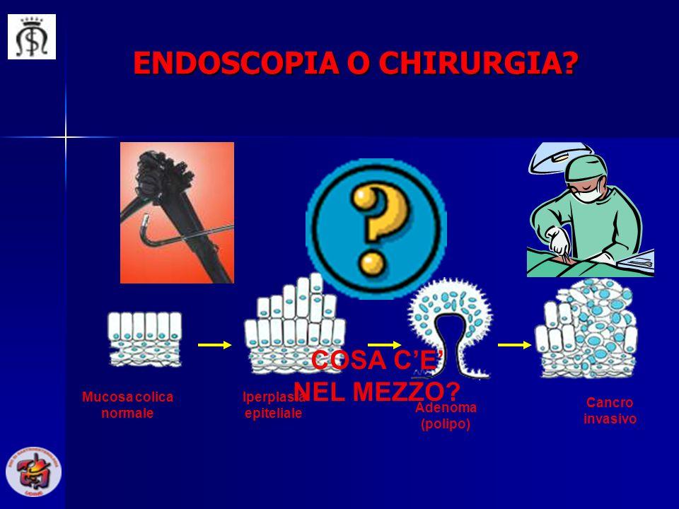Mucosa colica normale Iperplasia epiteliale Adenoma (polipo) Cancro invasivo ENDOSCOPIA O CHIRURGIA? COSA CE NEL MEZZO?