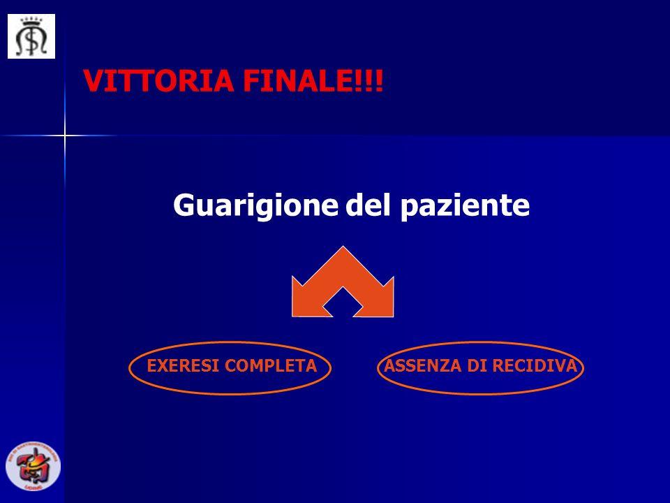 VITTORIA FINALE!!! Guarigione del paziente EXERESI COMPLETAASSENZA DI RECIDIVA