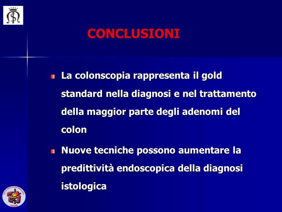 CONCLUSIONI La colonscopia rappresenta il gold standard nella diagnosi e nel trattamento della maggior parte degli adenomi del colon Nuove tecniche po
