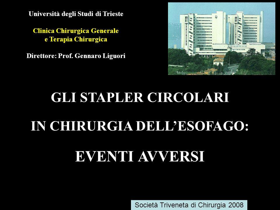 Università degli Studi di Trieste Clinica Chirurgica Generale e Terapia Chirurgica Direttore: Prof. Gennaro Liguori GLI STAPLER CIRCOLARI IN CHIRURGIA