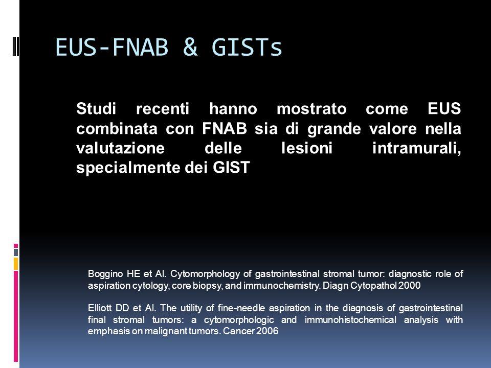 EUS-FNAB & GISTs Studi recenti hanno mostrato come EUS combinata con FNAB sia di grande valore nella valutazione delle lesioni intramurali, specialmen