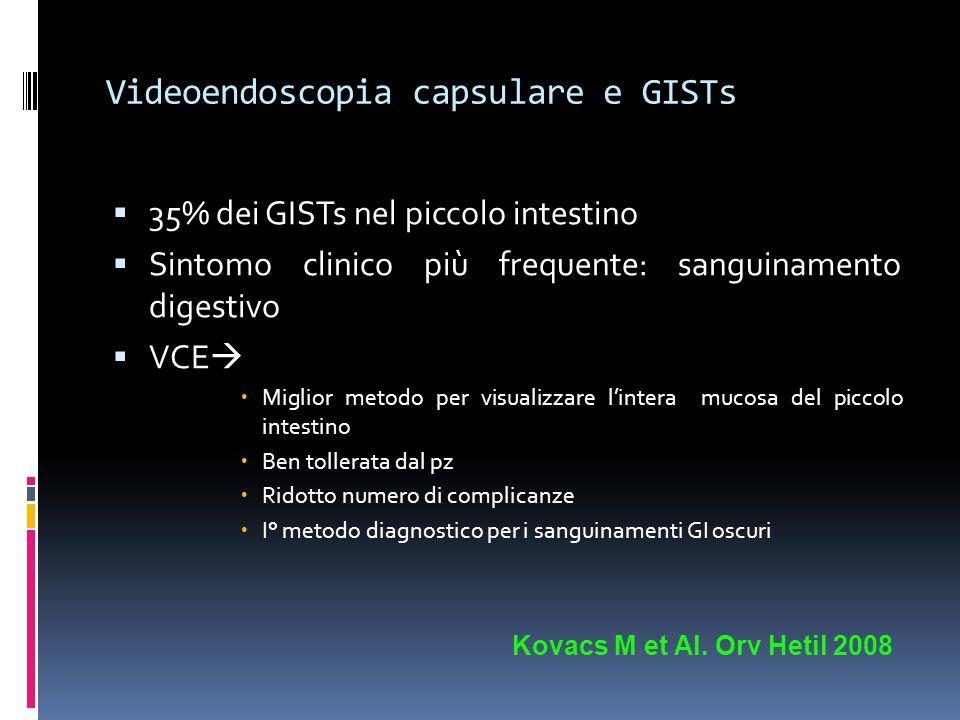 Videoendoscopia capsulare e GISTs 35% dei GISTs nel piccolo intestino Sintomo clinico più frequente: sanguinamento digestivo VCE Miglior metodo per vi