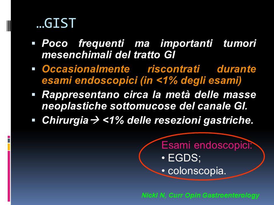 …GIST Poco frequenti ma importanti tumori mesenchimali del tratto GI Occasionalmente riscontrati durante esami endoscopici (in <1% degli esami) Rappre