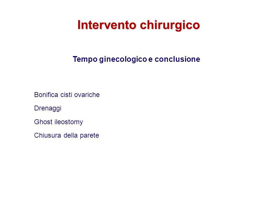 Tempo ginecologico e conclusione Bonifica cisti ovariche Drenaggi Ghost ileostomy Chiusura della parete Intervento chirurgico