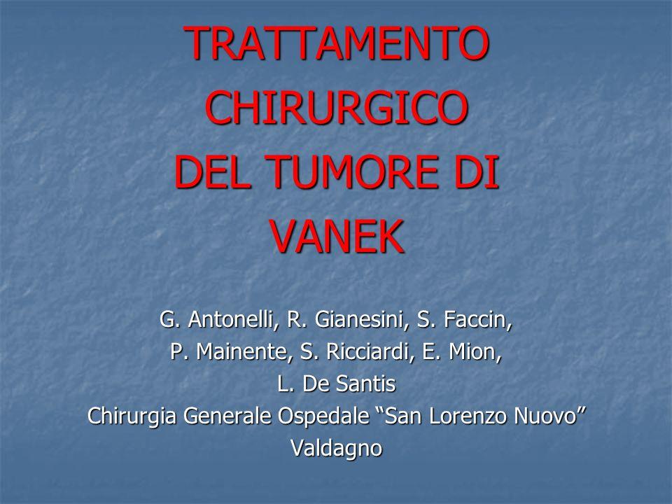 TRATTAMENTOCHIRURGICO DEL TUMORE DI VANEK G. Antonelli, R. Gianesini, S. Faccin, P. Mainente, S. Ricciardi, E. Mion, L. De Santis Chirurgia Generale O