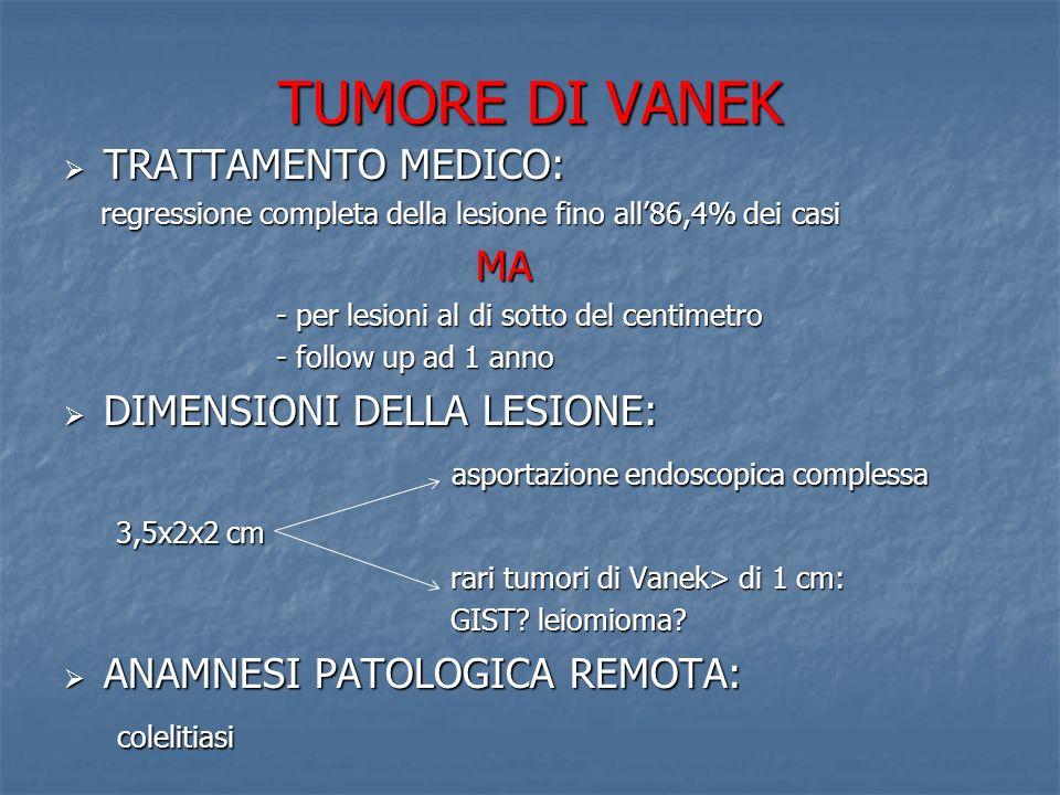 TUMORE DI VANEK TRATTAMENTO MEDICO: TRATTAMENTO MEDICO: regressione completa della lesione fino all86,4% dei casi regressione completa della lesione f