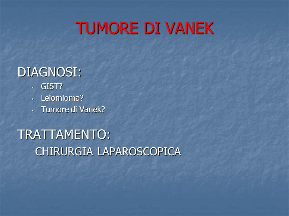 TUMORE DI VANEK COLECISTECTOMIA COLECISTECTOMIA CENTRAGGIO DELLA LESIONE CENTRAGGIO DELLA LESIONE CON FIBROGASTROSCOPIO GASTROTOMIA GASTROTOMIA