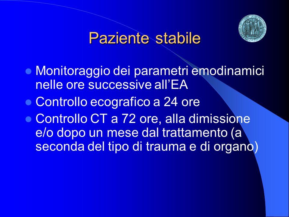 Paziente stabile Monitoraggio dei parametri emodinamici nelle ore successive allEA Controllo ecografico a 24 ore Controllo CT a 72 ore, alla dimission