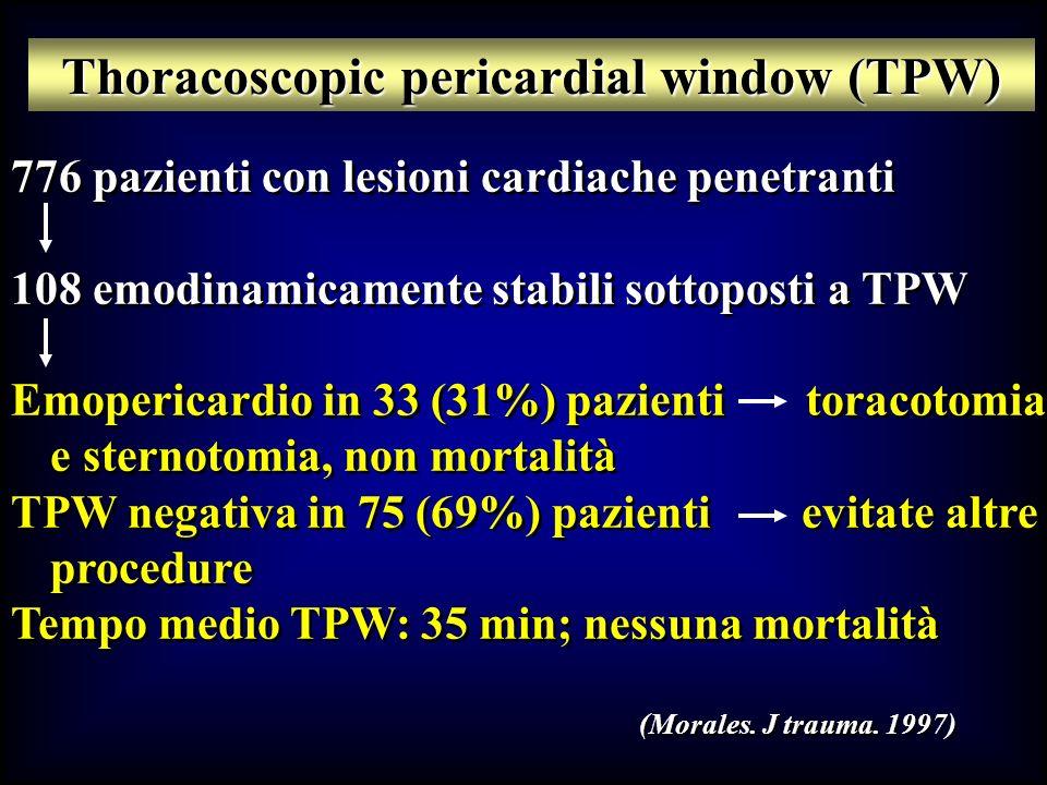 776 pazienti con lesioni cardiache penetranti 108 emodinamicamente stabili sottoposti a TPW Emopericardio in 33 (31%) pazienti toracotomia e sternotom