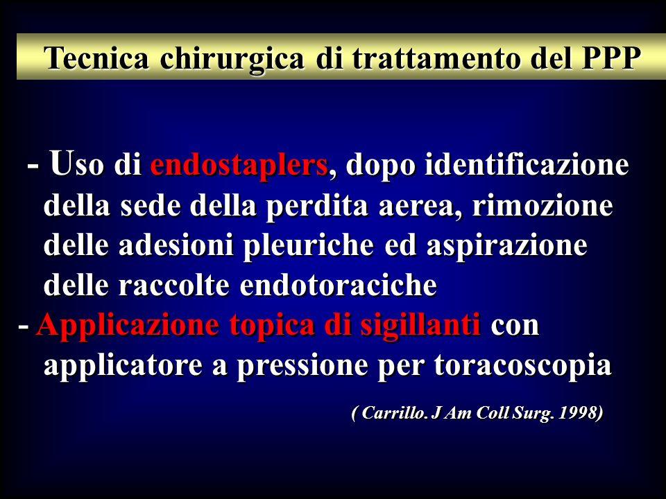 - U so di endostaplers, dopo identificazione della sede della perdita aerea, rimozione delle adesioni pleuriche ed aspirazione delle raccolte endotora