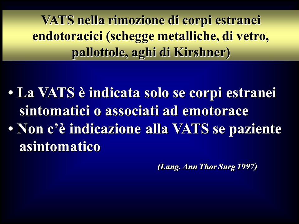 La VATS è indicata solo se corpi estranei sintomatici o associati ad emotorace Non cè indicazione alla VATS se paziente asintomatico (Lang. Ann Thor S