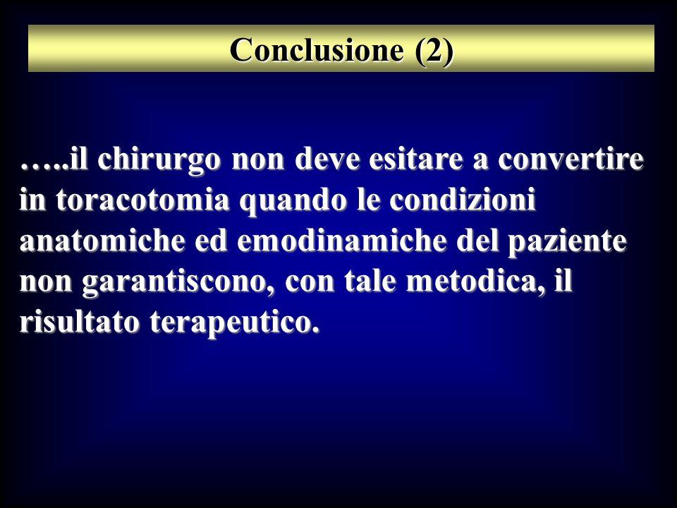 Conclusione (2) …..il chirurgo non deve esitare a convertire in toracotomia quando le condizioni anatomiche ed emodinamiche del paziente non garantisc
